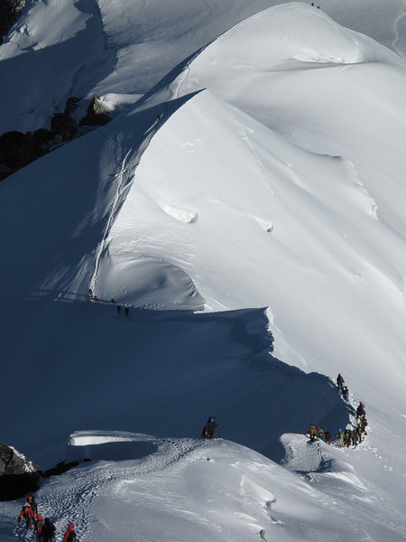 Descending Bosses arete, Mont Blanc 4810m