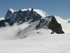 Les Grandes Jorasses 4208m and Dent du Géant 4013m, route Aiguille du Midi 3842m - Refuge Torino, Italy 3338m