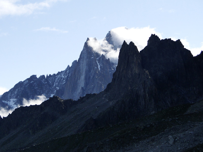 View at the Dru (Grand 3754m, Petit 3733m)