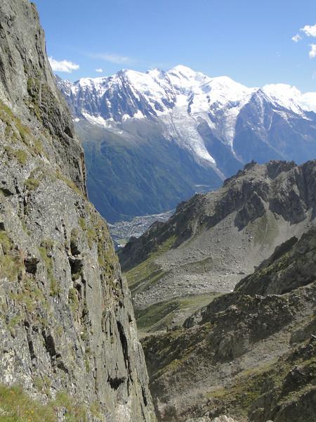 View at Chamonix and Mont Blanc 4810m, Rock climbing, L'Index 2385m (Aiguille Rouges)