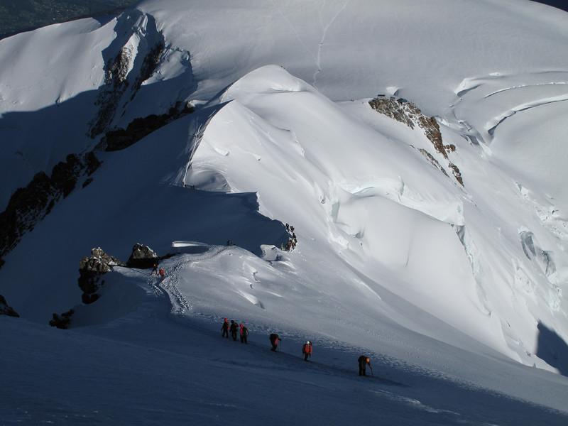 Descending via Bosses arete, Mont Blanc 4810m