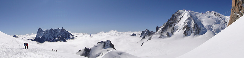 Left: Les Grandes Jorasses 4208m and Dent du Géant 4013m, Right: Mont Blanc 4010m. View from Aiguille du Midi 3842m