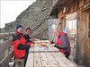 Diner with three persons in Refuge du Plan Glacier 2680m. (montblanc2005)