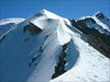 ascent Piton des Italiens,(middle) Dome du Gouter(L) and Mont Blanc(R) (montblanc2005)