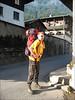 Mark, going to the telepherique Bellevue 1800m. (montblanc2005)