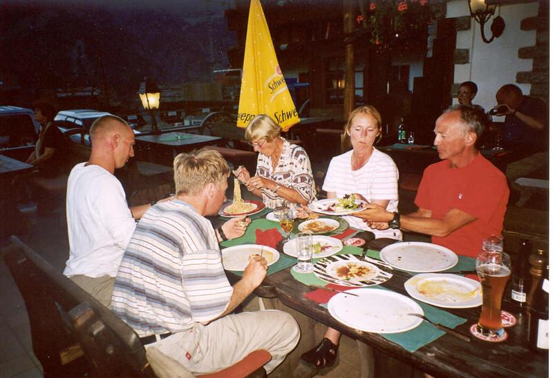 11 Aug. Diner with Suus and Hanneke,(Mark's wife) in Grachen Mattertal (Wallis,  2003)