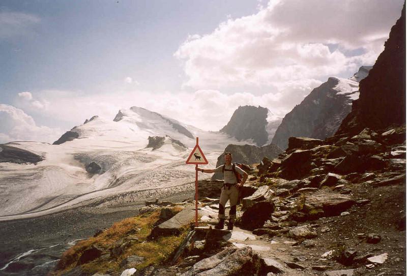 view from the Brittania hutte3030m.with Fluechthorn 3795m. Strahlhorn 4190m. Rimpfischhorn 4199m. and Allalinhorn 4027m. (Wallis,  2003)