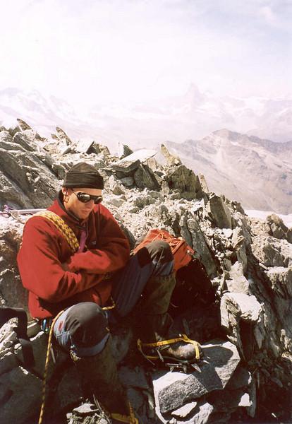 near the summit of the Allalinhorn 4027m. (Wallis, Mischabel 2003)