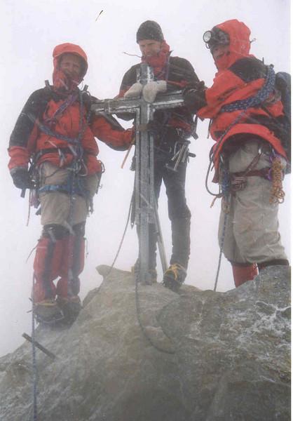 15 Aug. my birtday on the summit of the Nadelhorn 4327m. (Wallis,  Mischabel 2003)