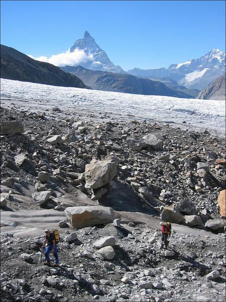 Grenz Glacier and ascent to the Monte Rosa Hutte 2802m. (Wallis 2004)