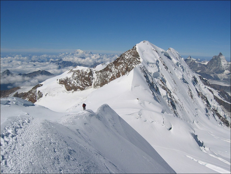 descent Parrotspitze and in the background the Liskamm (Wallis 2004)