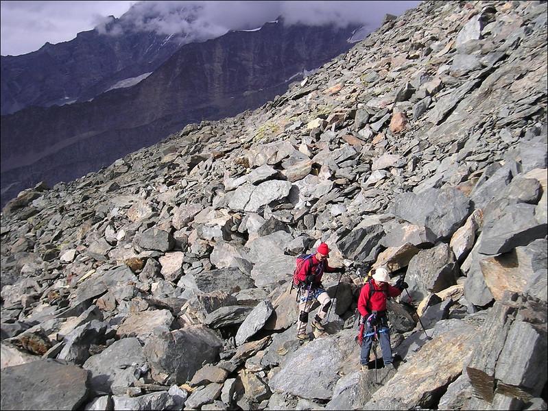 descent to Fluhalp 2648m. (Wallis 2004)