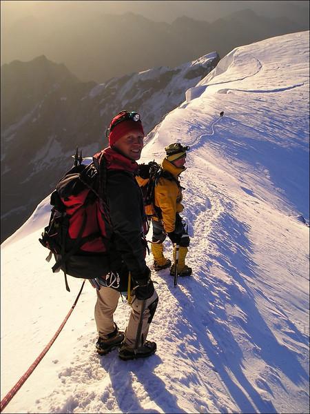 descent Zumsteinspitze 4563m. (Wallis 2004)