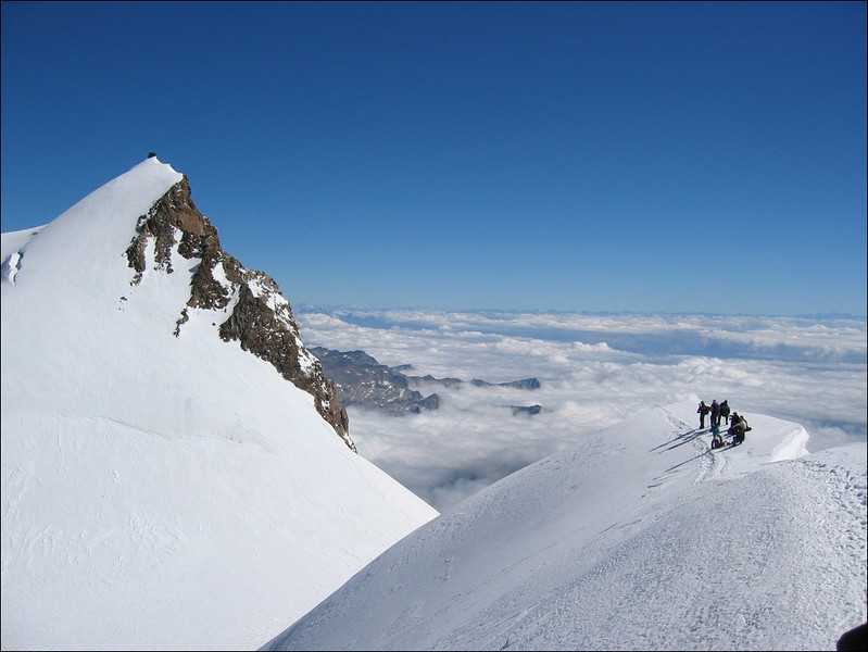 Signalkuppe 4554m. and Rif. Margheritahutte CAI and Parrotspitze 4432m. (Wallis 2004)