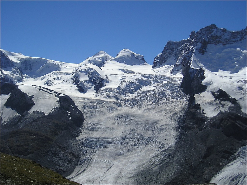 Castor and Pollux  with the Zwillings Glacier and Grenz Glacier (Wallis 2004)