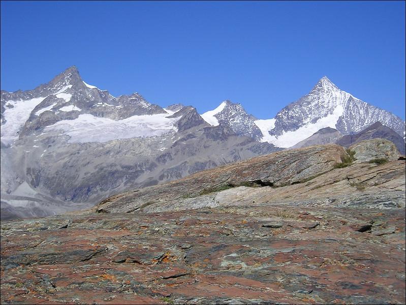 view on Zinal Rothorn,  Schalihorn and Weisshorn (Wallis 2004)
