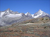 view on Zinal Rothorn,  Schalihorn and Weisshorn (Wallis 2004)