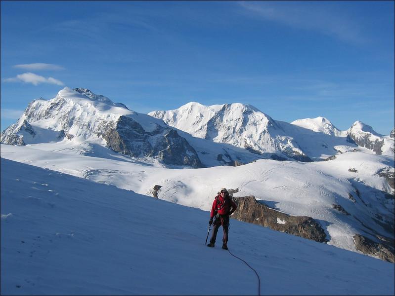 Langflue glacier and Nordend, Doufourspitze, Liskamm,Castor, Pollux (Wallis 2004)
