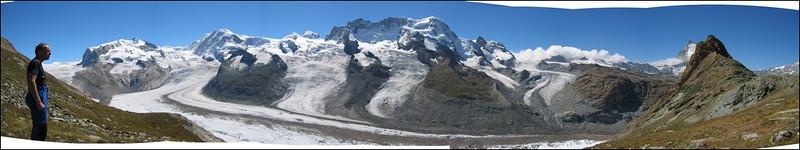panorama Grenz Glacier and the Swiss-Italy border mountains of Wallis (Wallis 2004)