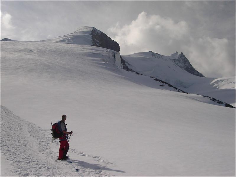 view back: Turtmannglacier, Bishorn 4153m. and Pointe Burnaby 4135m (Wallis 2005  Zinal)