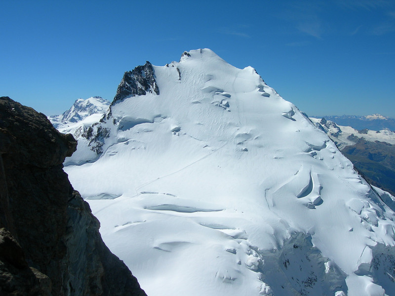 view, South, Dom 4545m. (with the normal route to the summit)
