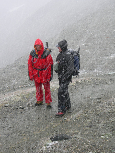 arrival, Cabane des Dix 2928m. (3.00 h. PM and starting to snow)