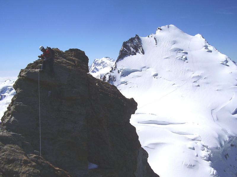 summit Nadelhorn 4327m. with Dom 4545m.