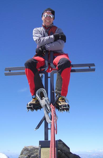 summit Stecknadelhorn 4241m. (on the new ( 2007 ) placed cross)