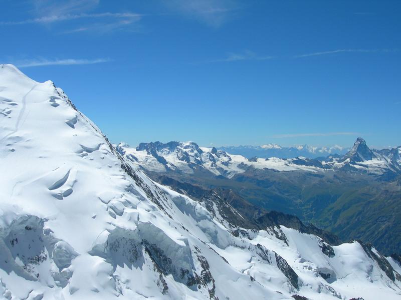 view (Dom 4545m.,Breithorn 4165m.and Matterhorn 4477m.)