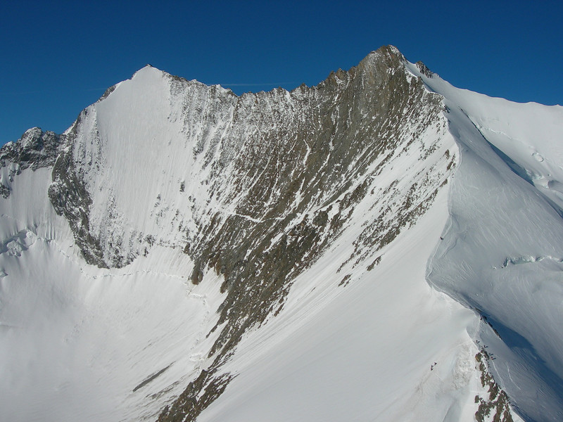 North-East face of the Lenzspitze 4294m and the Nadelhorn 4327m.