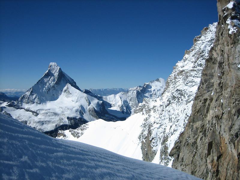 Matterhorn 4478m. and Gendarme of/and the Obergabelhorn 4064m. (view)