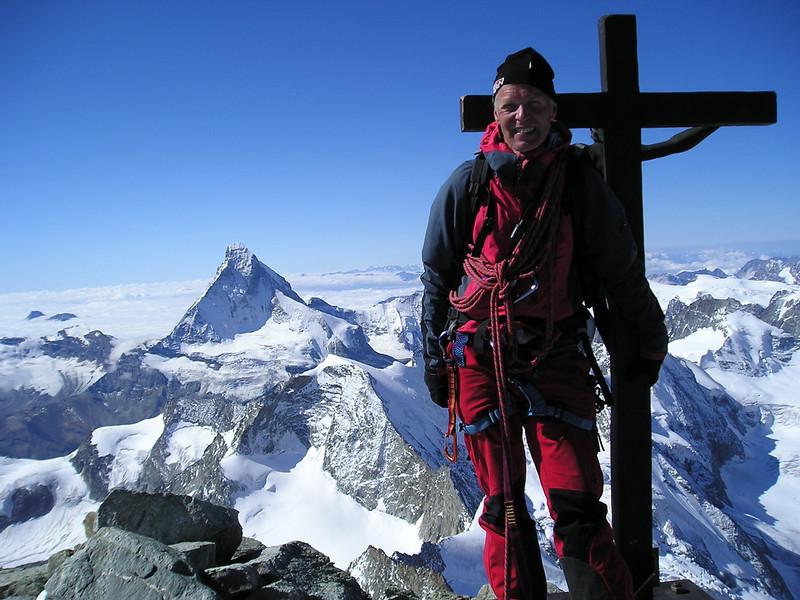Summit of the Zinalrothorn 4221m. (crucifix,  in background the Matterhorn 4478m.)