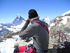 photographing (Matterhorn 4478m.and Dent d'Herens 4171m.)