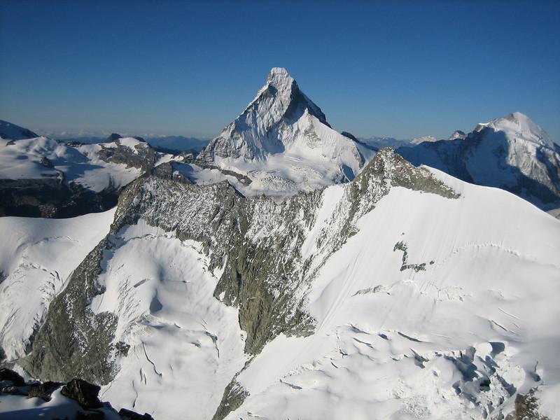 Matterhorn 4478m. and Dent d'Herens 4171m. (view from the Wellenkuppe 3903m.)