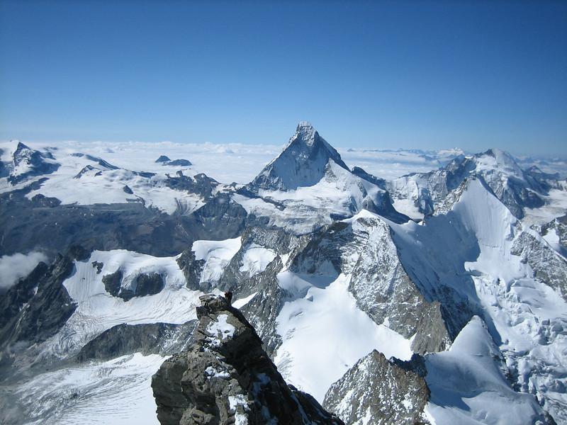 Matterhorn 4478m.and Turm ( Kanzel) of the Zinalrothorn 4221m. (ascent Zinalrothorn )