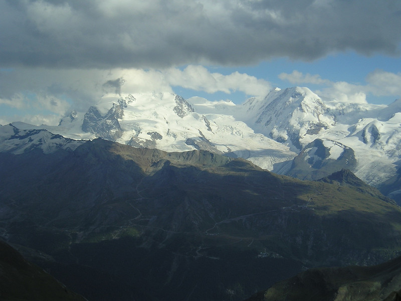 Monte Rosa group and Lisskamm (view from the Täsch hütte)