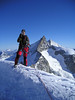 Summit Wellenkuppe 3903m. (Zinalrothorn 4221m.and Weisshorn 4505m.)