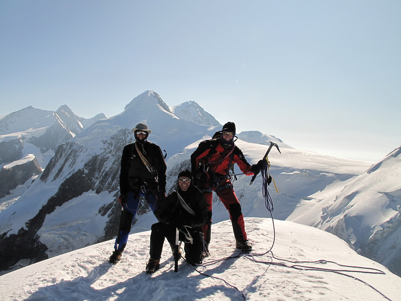 on the summit of the Pollux 4092m. (Pollux 4092m. Wallis 2009, Switzerland                                )