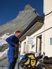 preparations before descent from the Hörnli hut ( Matterhorn 4478m. Wallis 2009, Switzerland)