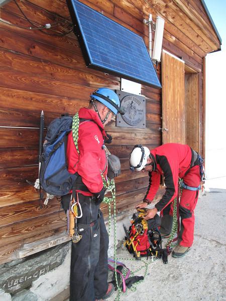 the Solvay Hut, 4003m. ( Matterhorn 4478m. Wallis 2009, Switzerland                             )