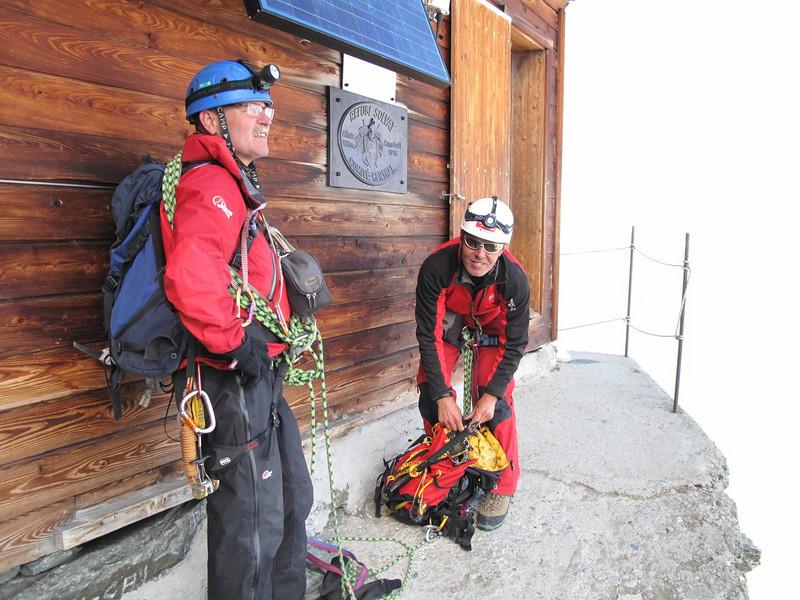 the Solvay Hut on the altitude of 4003m. ( Matterhorn 4478m. Wallis 2009, Switzerland                               )