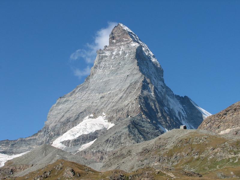 the Matterhorn 4478m. and the Hörnli hut ( Matterhorn 4478m. Wallis 2009, Switzerland)