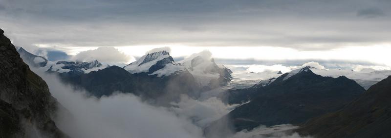 panorama in direction Rimpfischhorn (Schönbielhorn 3472m. Wallis 2009 Switzerland  )