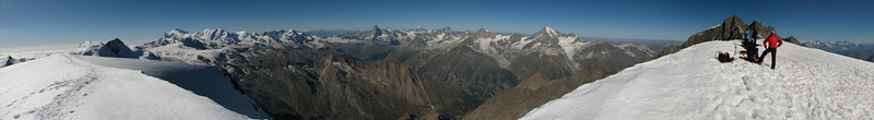 Panorama of the mountains of Wallis (Alphubel, 4206m. Wallis 2009 Switzerland)