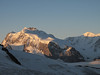 View on the Monte Rosa with Nordend, Dufourspitze and Liskamm (Alphubel, 4206m. Wallis 2009 Switzerland)
