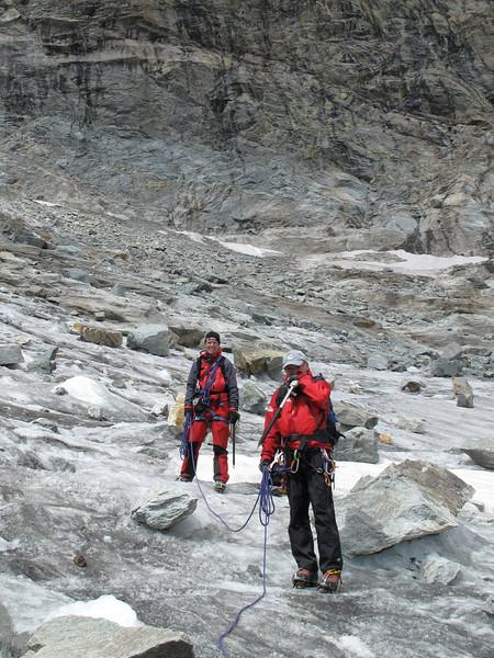 on the Hohwang glacier 3220m. (Schönbielhorn 3472m. Wallis 2009 Switzerland                                )
