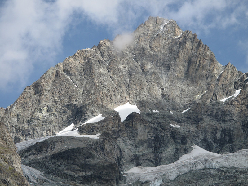 close up of the Ober Gabelhorn 4063m. (Schönbielhorn 3472m. Wallis 2009 Switzerland                                )