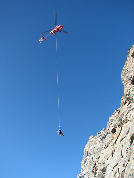 Rescue helicopter transport Paul to the hospital of Visp. (Matterhorn 4478m. Wallis 2009, Switzerland)