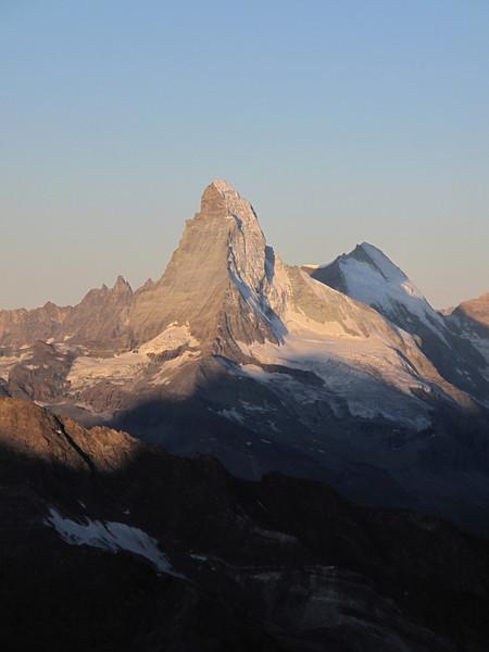 View on the Matterhorn 4478m. and Dent d' Hérens 4171m. (Alphubel, 4206m. Wallis 2009 Switzerland)