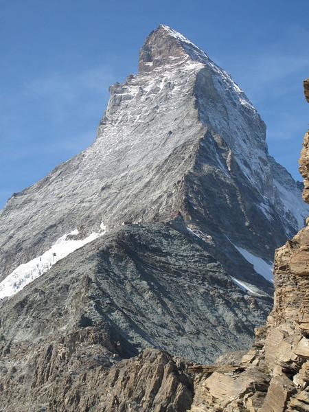 Hörnli hütte 3260m.and our route: the Hörnli ridge ( Matterhorn 4478m. Wallis 2009, Switzerland                              )